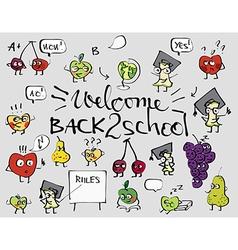 Back to school fruit doodle set background vector