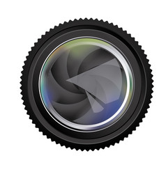 black camera lens semi closed icon vector image