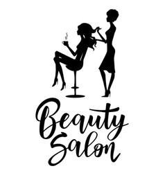 black silhouette hairdresser and client vector image