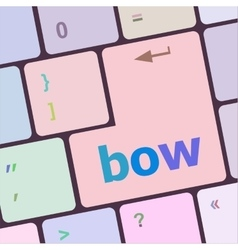 Bow button on computer pc keyboard key vector