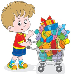 Boy with a shopping trolley of gifts vector