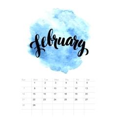 Calendar with watercolor paint 2016 design vector