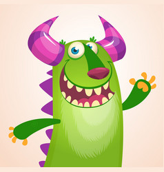 cartoon portrait of laughing green monster vector image vector image