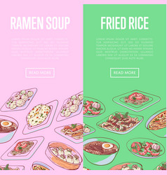 Chinese restaurant flyers with asian dishes vector