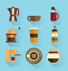 coffee icons flat design vector image vector image