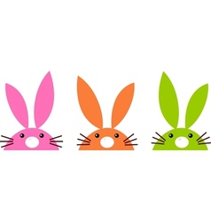 Cute simple easter bunnies set isolated on white vector