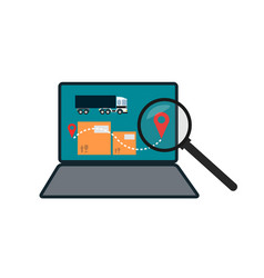 Delivery route on laptop screen icon vector