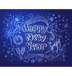 Doodle new year on a blue background vector image