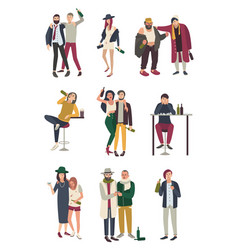 Drunk people in various situation flat characters vector