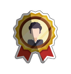 Emblem badge faceless man vector