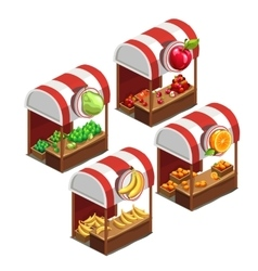 Four stalls selling fresh fruit vector image