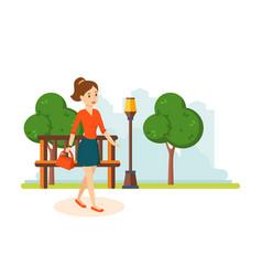 Girl in skirt and blouse walks in park resting vector