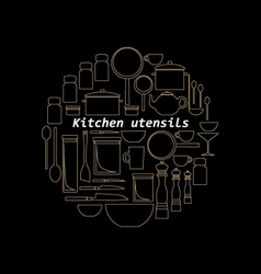 Gold mono line kitchen utensils logo vector