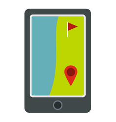 Golf course on a tablet screen icon isolated vector
