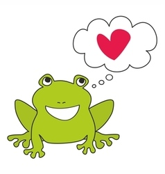 Green frog dreaming about love vector image vector image