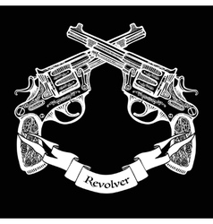 Hand drawn crossed pistols with ribbon vector