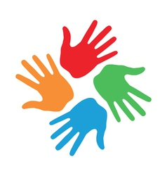 Hand print icon 4 colors vector