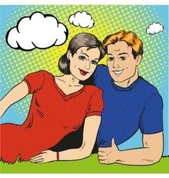 Happy couple in retro pop vector