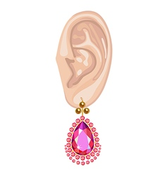 Human ear and hanging pearl earring vector