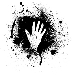 Ink blots and hand vector