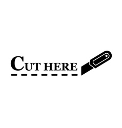 knife with dotted line vector image vector image