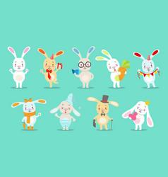 Little girly cute white bunny cartoon character vector