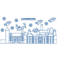 Luxembourg winter city skyline merry christmas vector