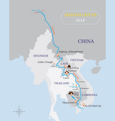 Mekong river map with country and city location vector