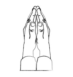 monochrome sketch of hands in position of pray in vector image vector image