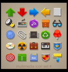 multimedia icon set-4 vector image vector image