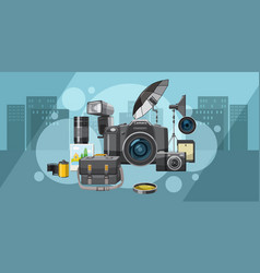 Photo studio banner horizontal city cartoon style vector