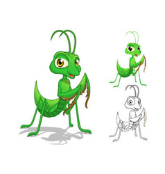 Praying mantis cartoon character vector