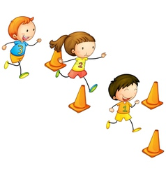 Running kids vector