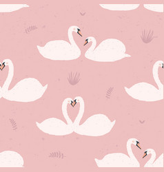 seamless pattern with white swans swan s couples vector image vector image