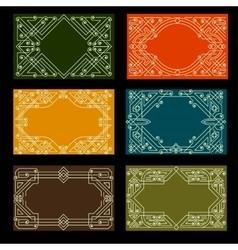 Set of visit card designs with ornate frames vector image vector image