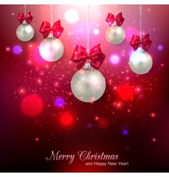 Shining red christmas background with silver balls vector