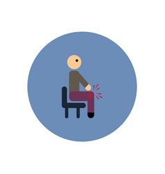 stylish icon in color circle man knee pain vector image