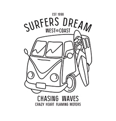 Surfing print in thin line style vector image vector image