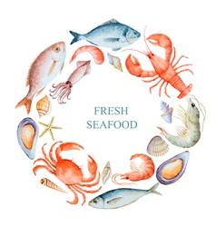 Watercolor set of seafood vector