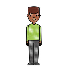 young man black avatar character vector image