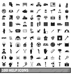 100 help icons set simple style vector