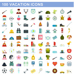 100 vacation icons set flat style vector image vector image