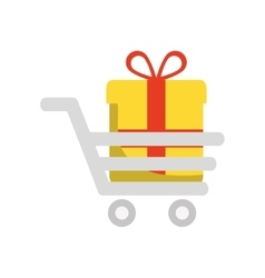 gift cart present bowtie red ribbon icon vector image