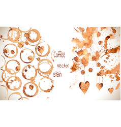 coffee paint stains splashes and harts vector image