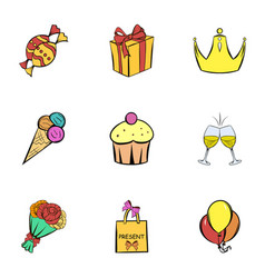 Happy birthday icons set cartoon style vector