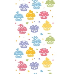 Colorful cupcake party vertical seamless pattern vector image