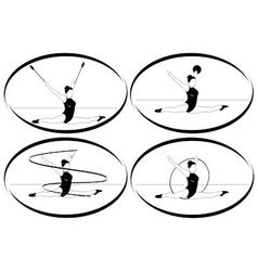 Rhythmic gymnastics ribbon ball hoop mace vector