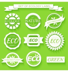Eco nature organic white label on isoleted green vector