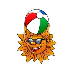 Funny summer sun with ball vector