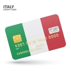Credit card with italy flag background for bank vector